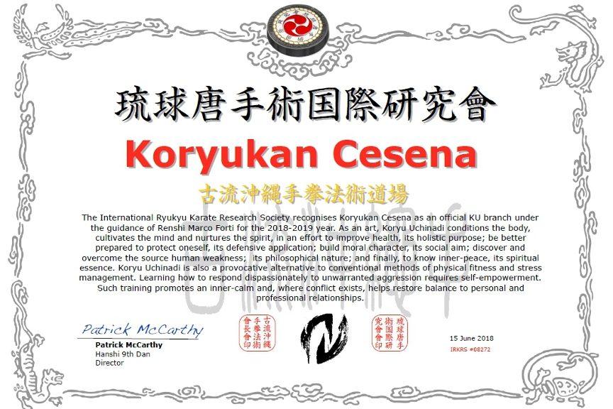 Koryukan Cesena è shibu dojo IRKRS 2018-2019