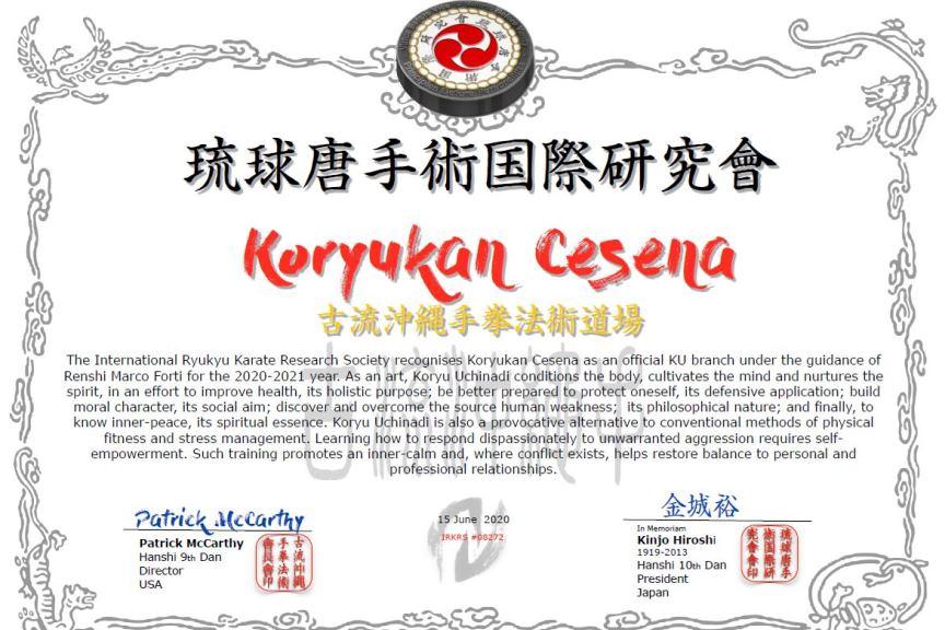 Koryukan Cesena è shibu dojo IRKRS per l'anno 2020-2021